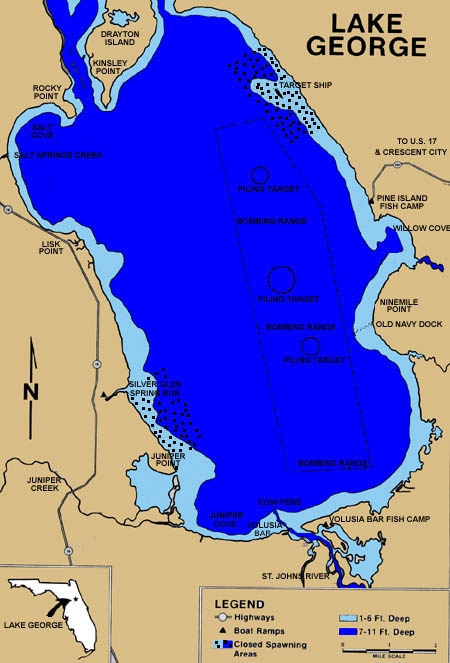 Florida Lakes Map.Lake George Information Guide Florida Lakes