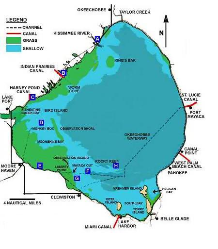 Florida Lakes Map.Lake Okeechobee Information Guide Florida Lakes