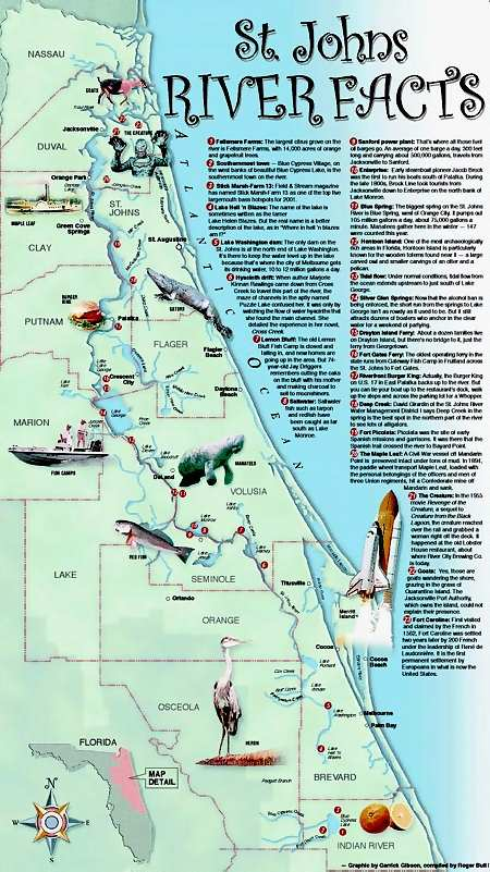 St Johns River Map St. Johns River Information Guide   Florida Lakes and Rivers